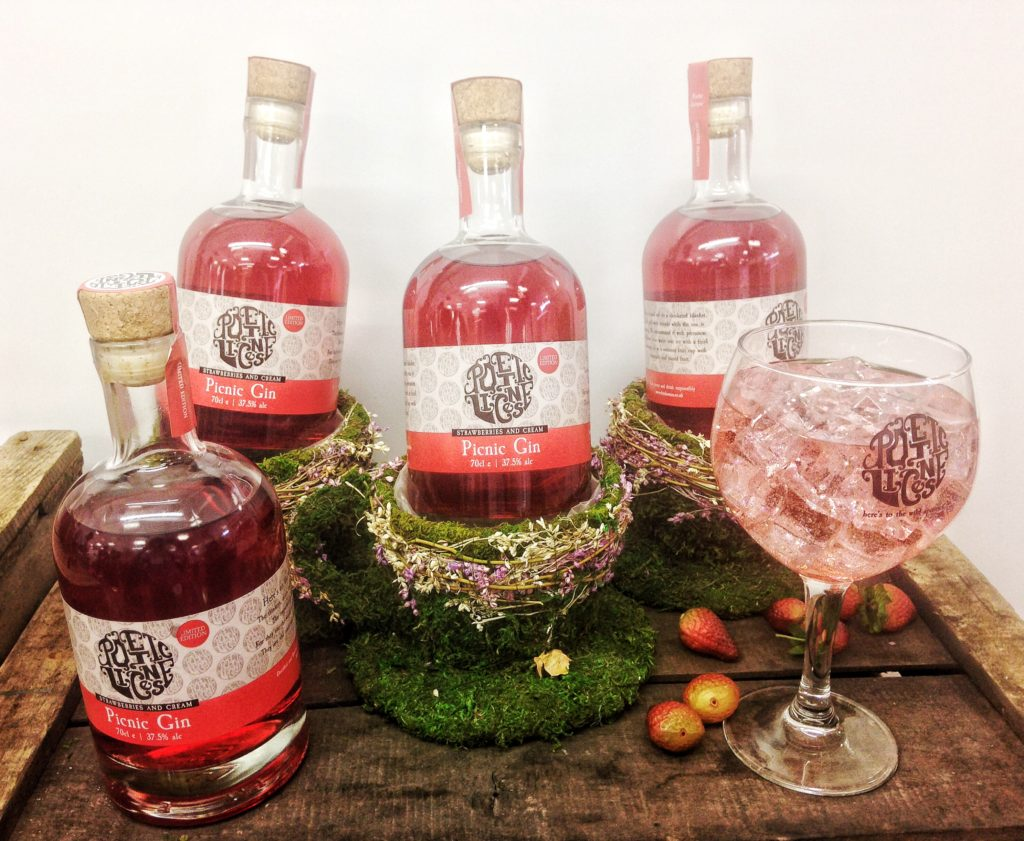 Bottles of Picnic Gin from Poetic License distillery