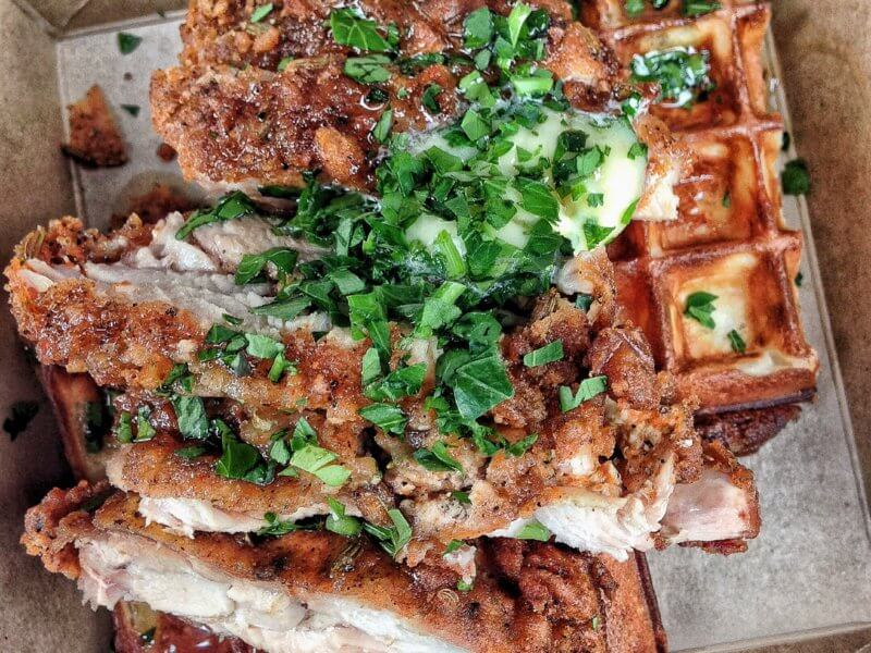 Fried chicken waffle by Waffle On at Maltby Street Market