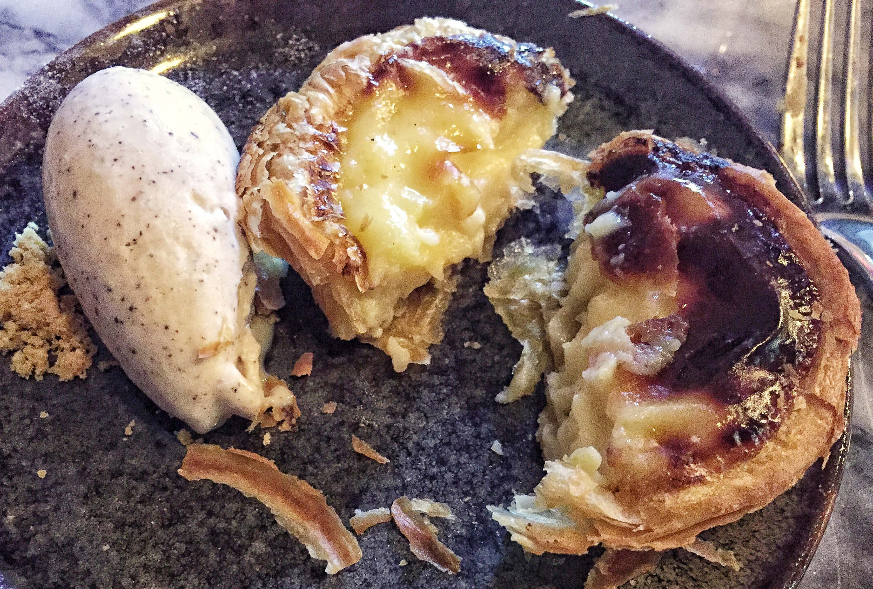 Pastel de nata (custard tart) with cinnamon ice cream at Bar Douro, London Bridge, London