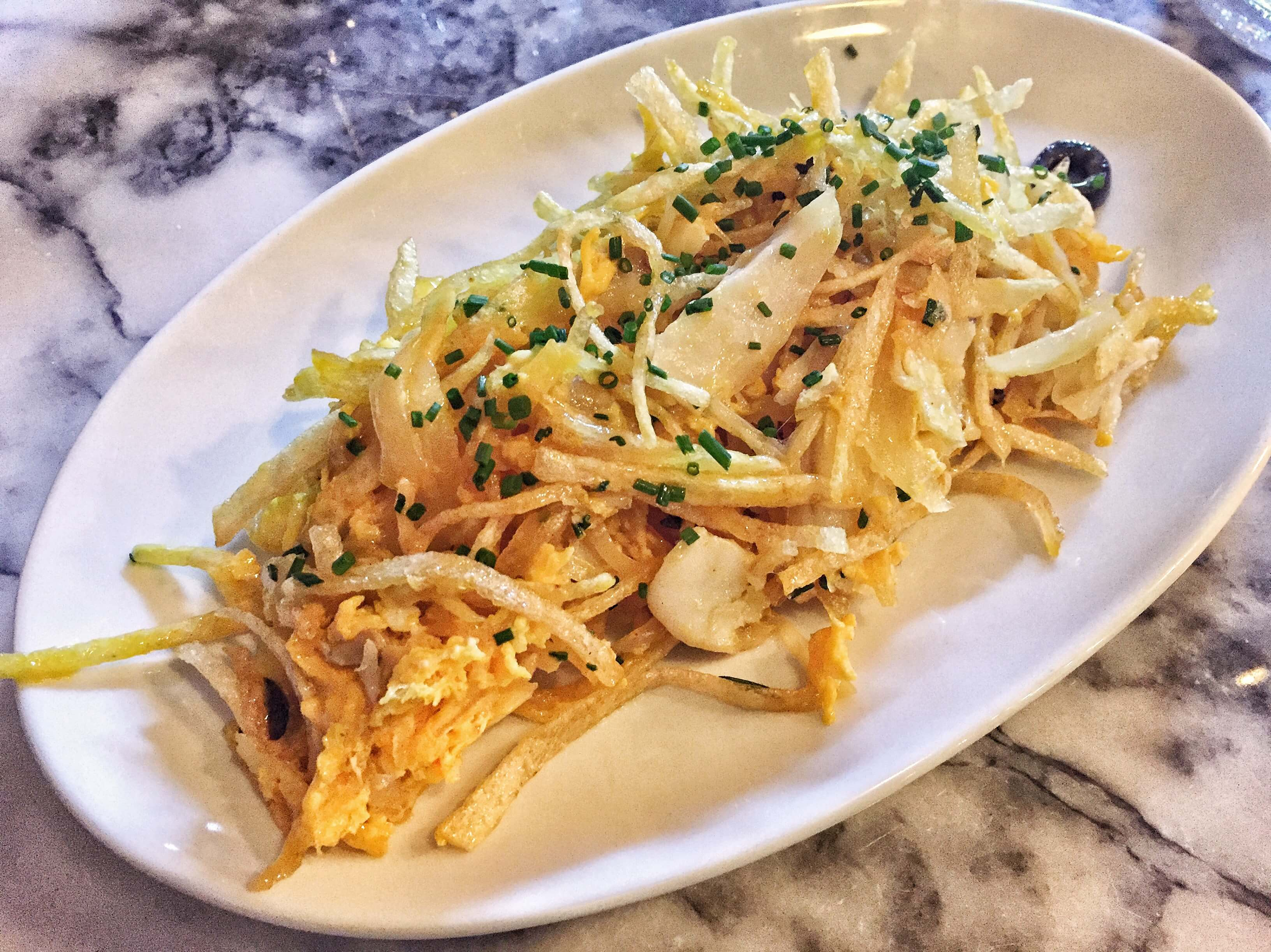 Salt cod and scrambled egg with matchstick fries at Bar Douro, London Bridge, London