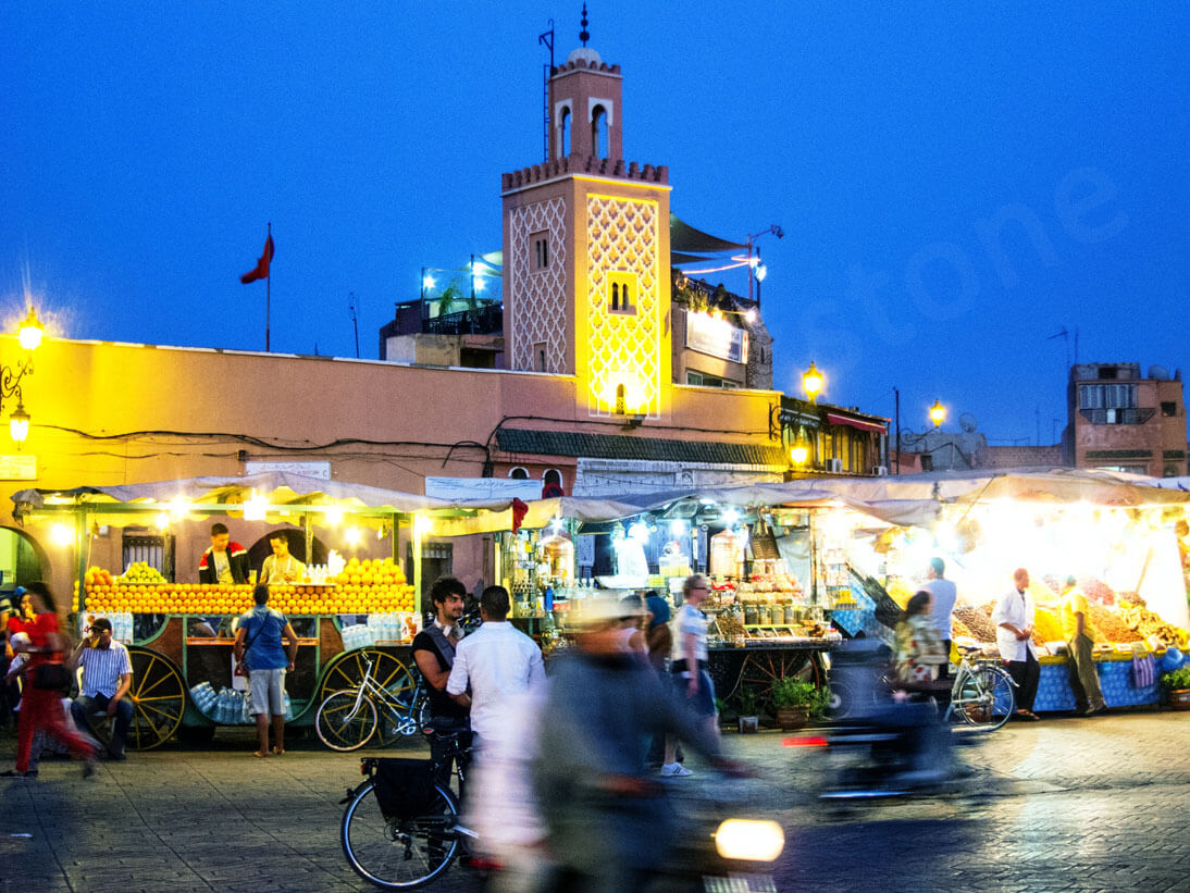 Travel in Morocco: Jemaa el Fna in Marrakech at night