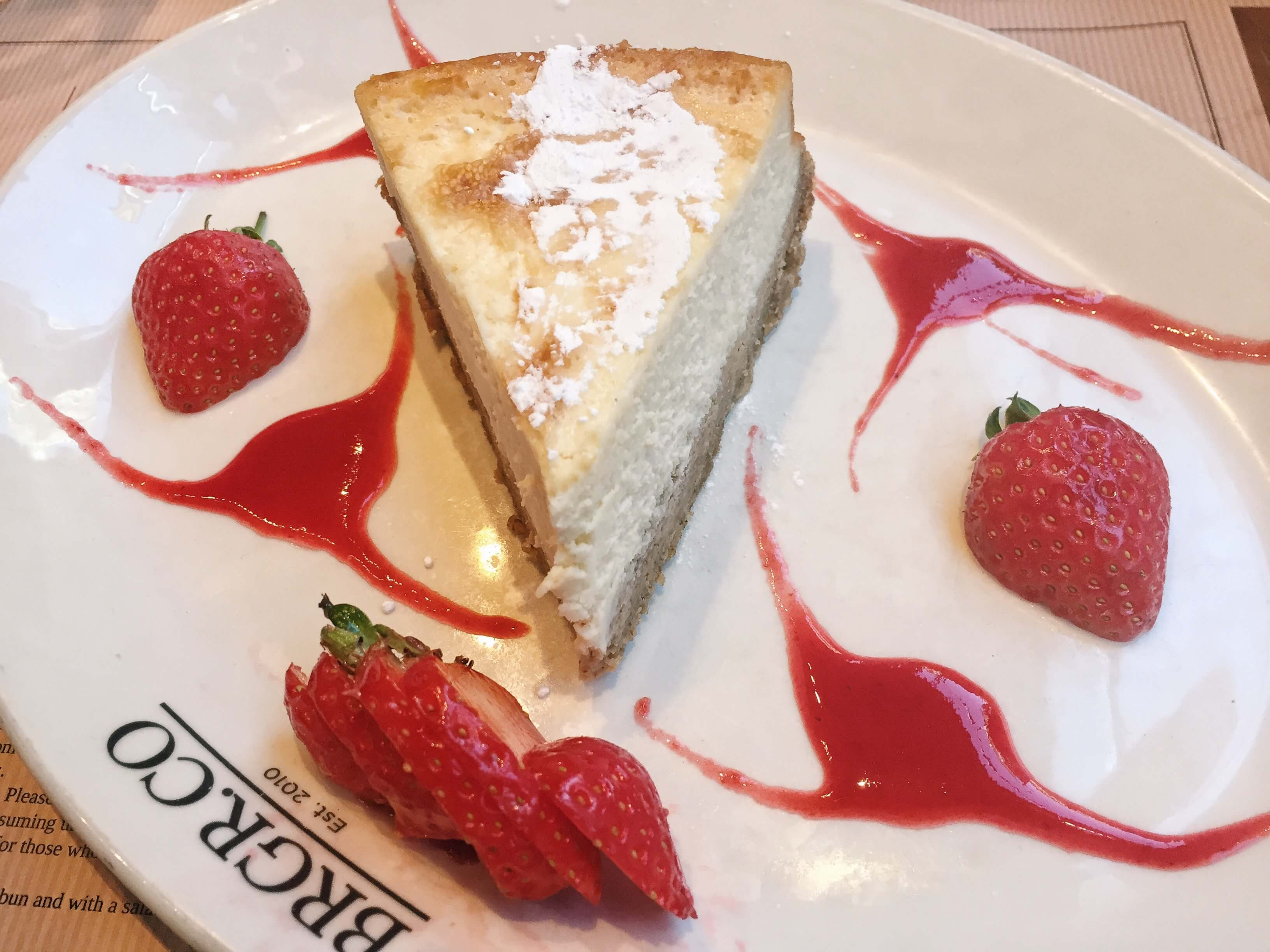 Baked vanilla cheesecake with strawberries from BRGR.CO in Soho, London