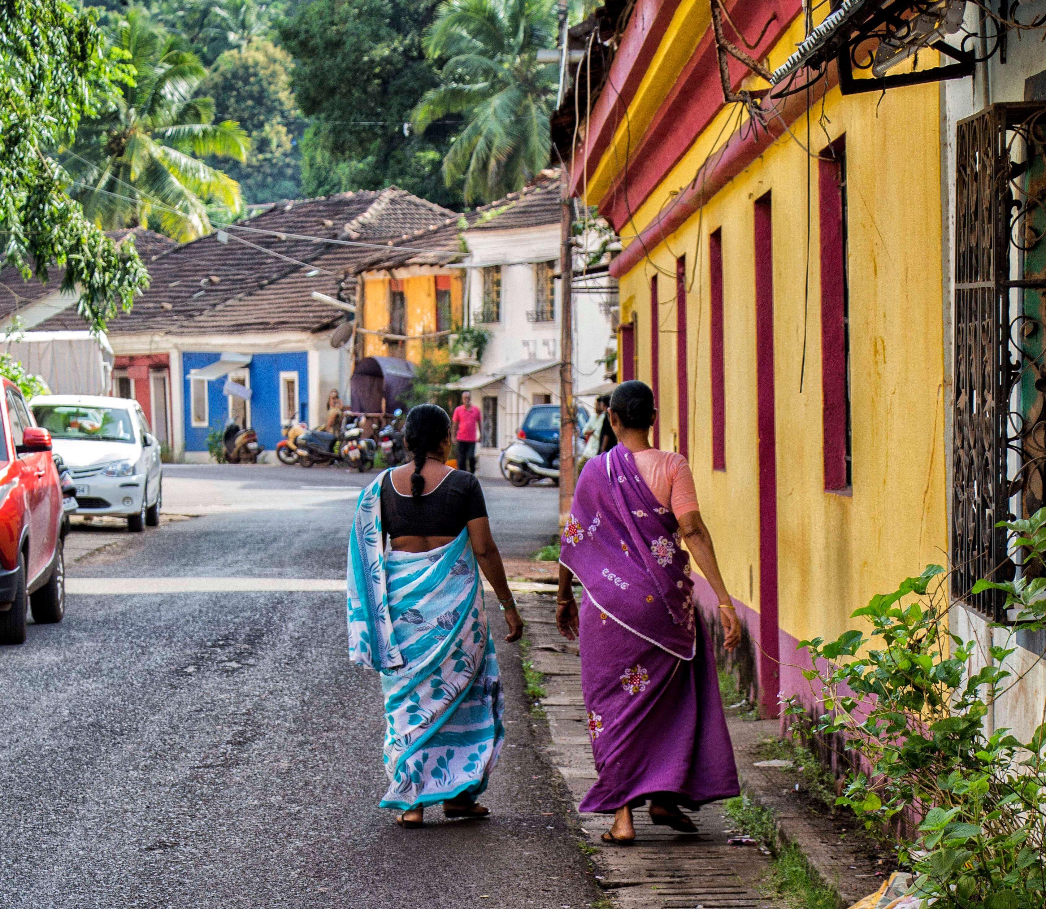 Indian women in saris in Panaji, Goa