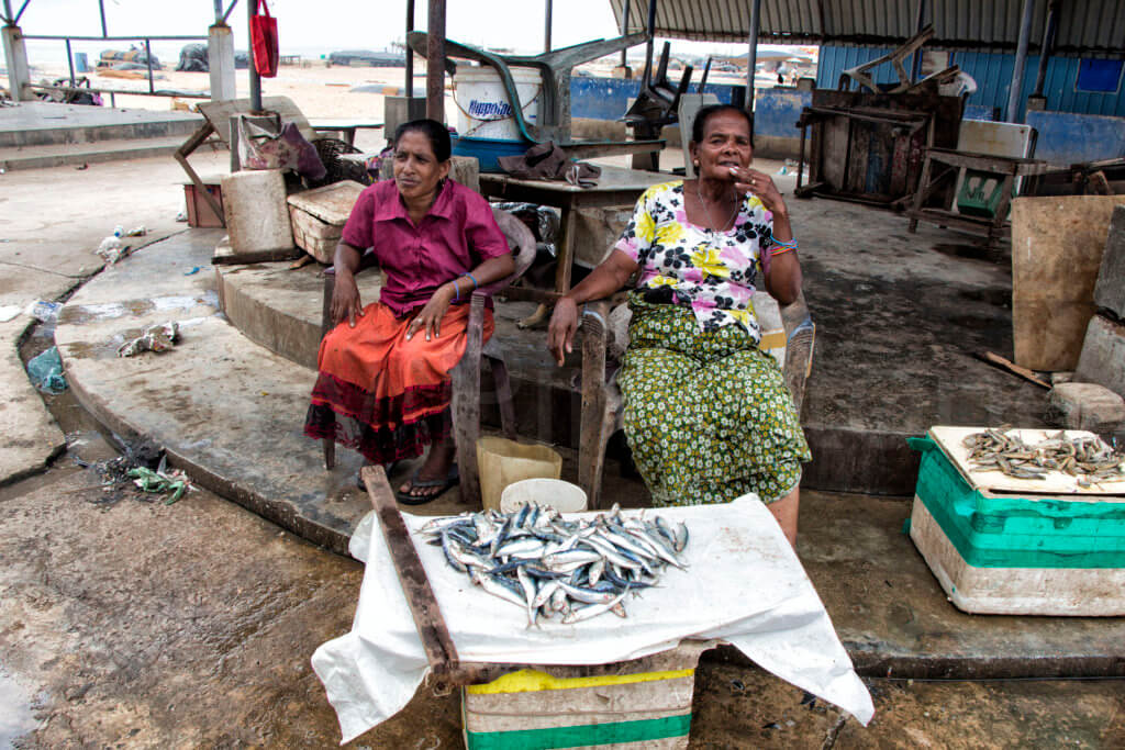 Two women at the fish market in Negombo, Sri Lanka