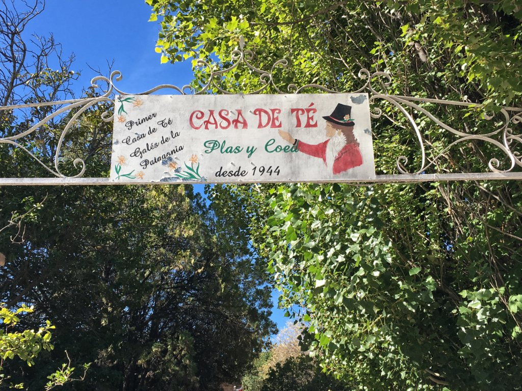 Tea house sign in Gaiman, Welsh Patagonia