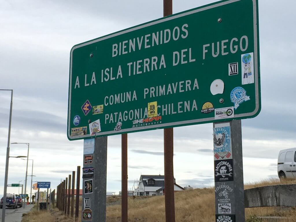 The sign welcoming people to Tierra del Fuego