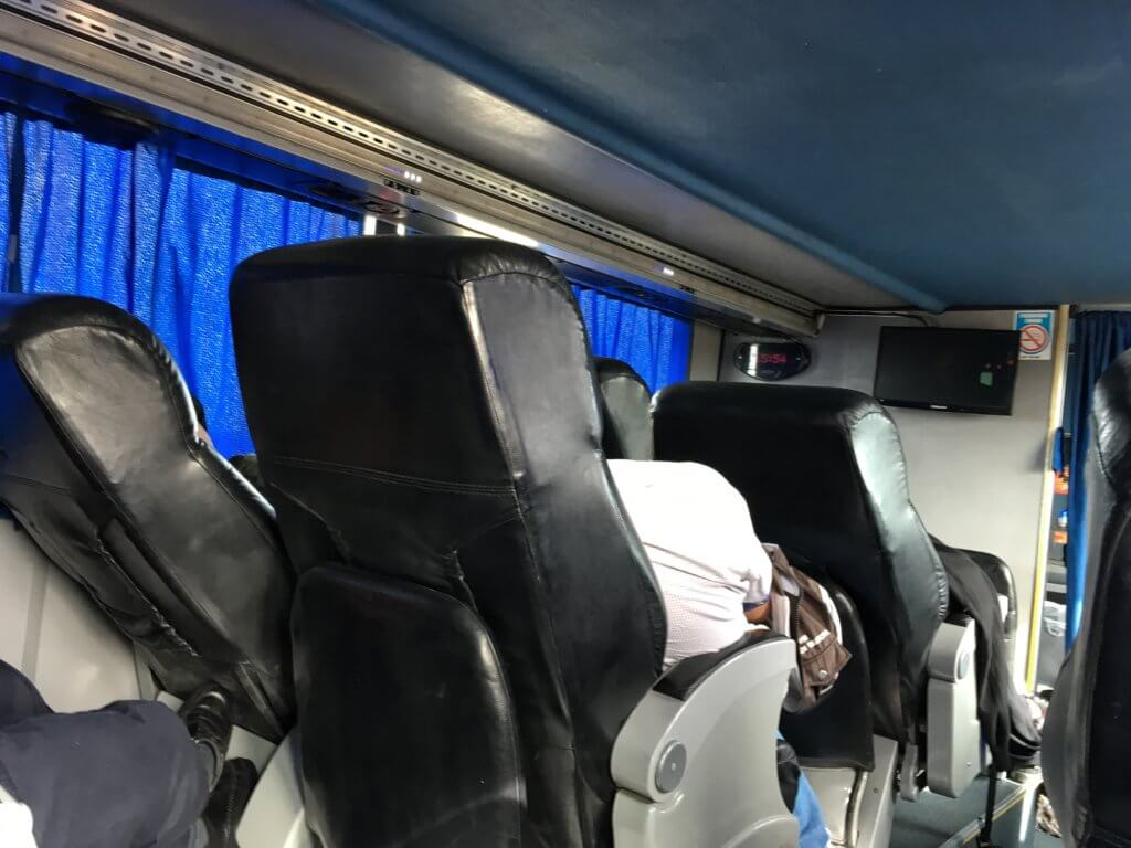 Inside the overnight bus from Trelew to Rio Gallegos