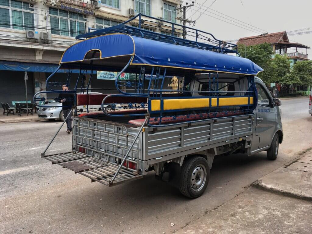A songthaew shuttle to the bus station in Luang Namtha, Laos